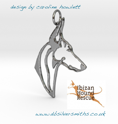 Podenco Ibicenco/ Ibizan hound pendant sterling silver handmade by saw piercing for Ibizan Hound Rescue